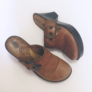 Born Brown Leather Buckle Clogs
